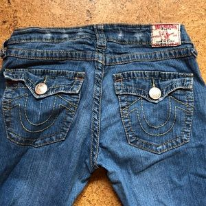True Religion. Low rise. Slight flare